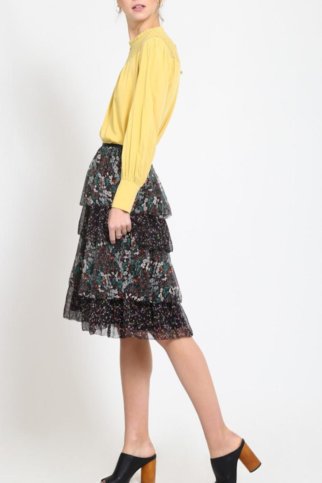 Movint Tiered Chiffon Skirt - Side Cropped Image