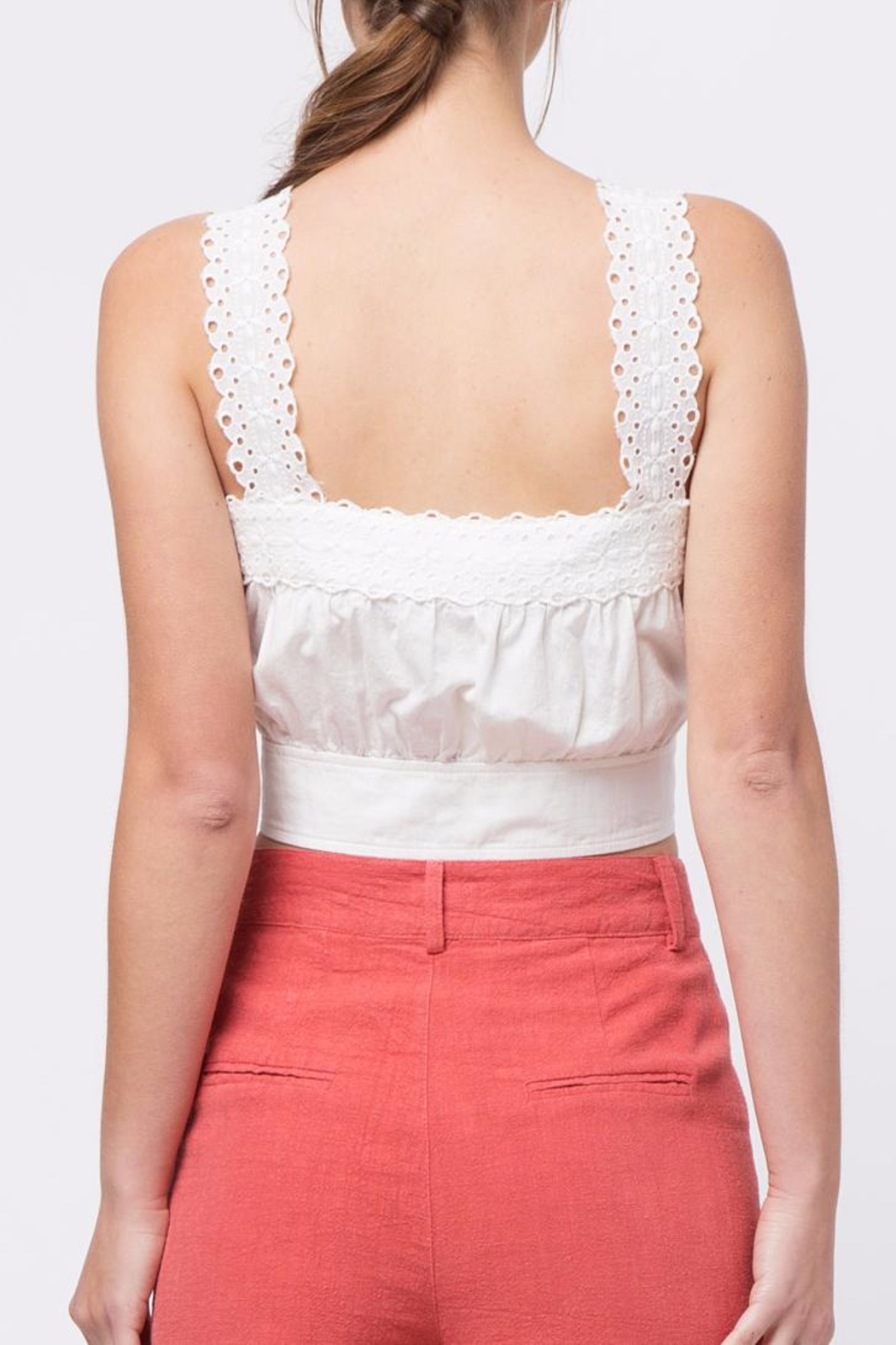 Movint Button-Down Cropped Top - Front Full Image