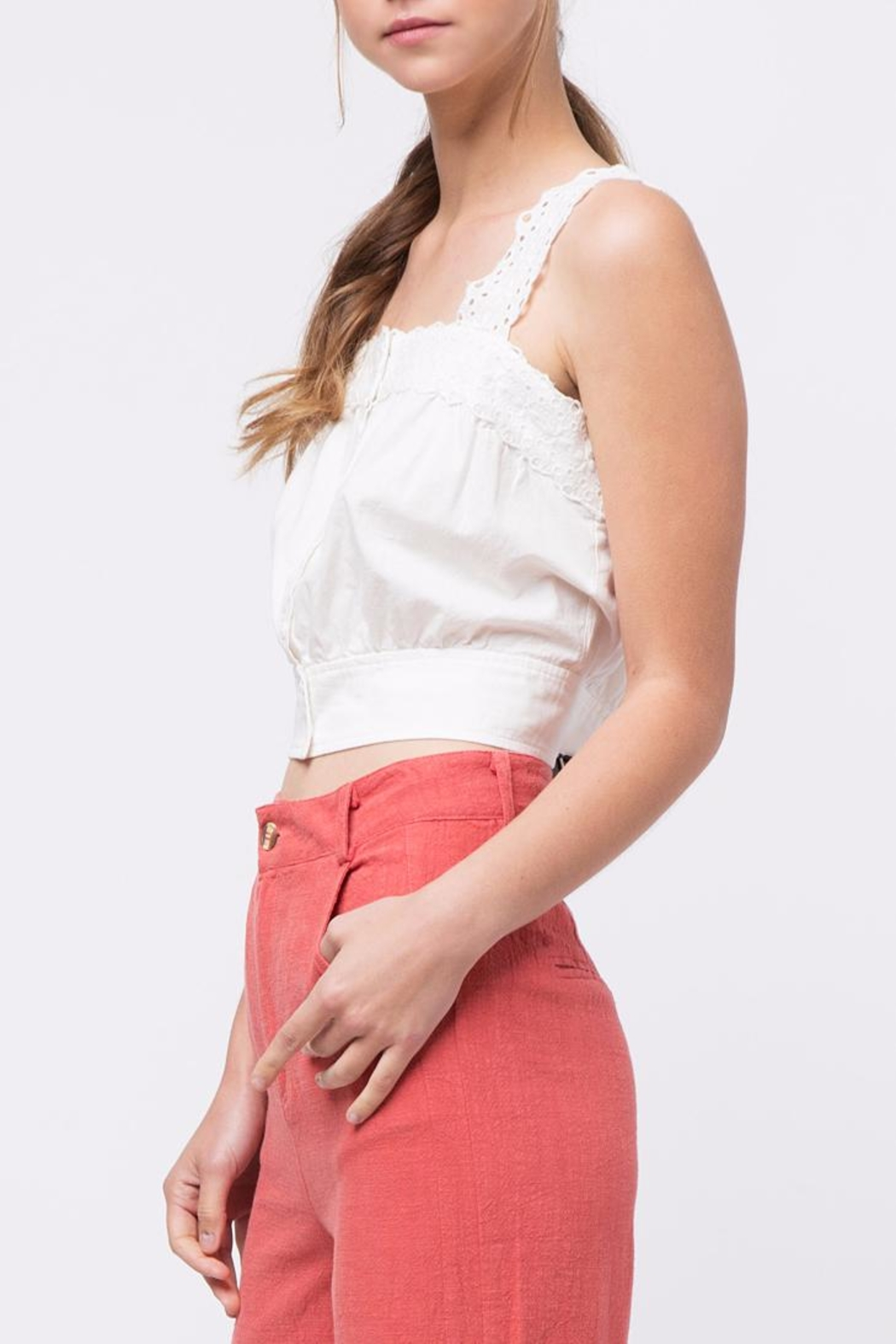 Movint Button-Down Cropped Top - Side Cropped Image