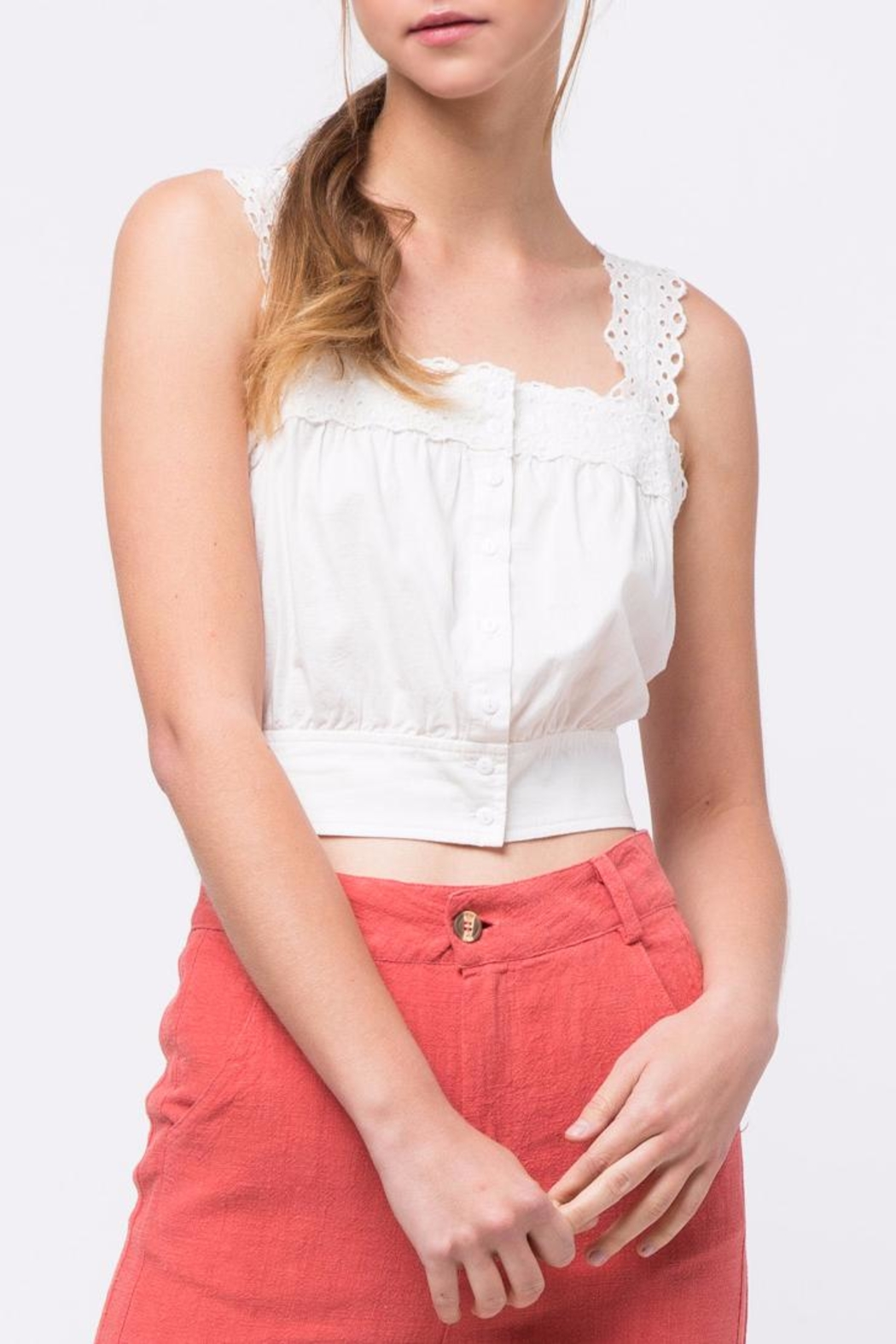 Movint Button-Down Cropped Top - Main Image