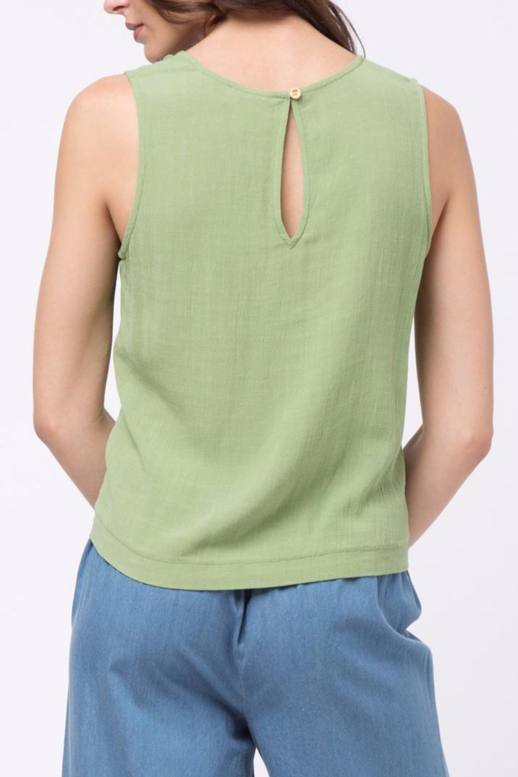 Movint Top With Overlapped Tie Detail - Back Cropped Image