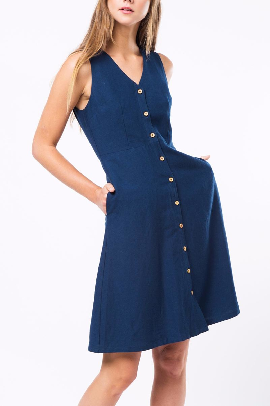 Movint Button Down Sleeveless Dress - Main Image