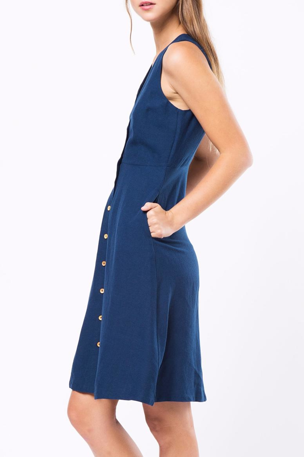 Movint Button Down Sleeveless Dress - Side Cropped Image