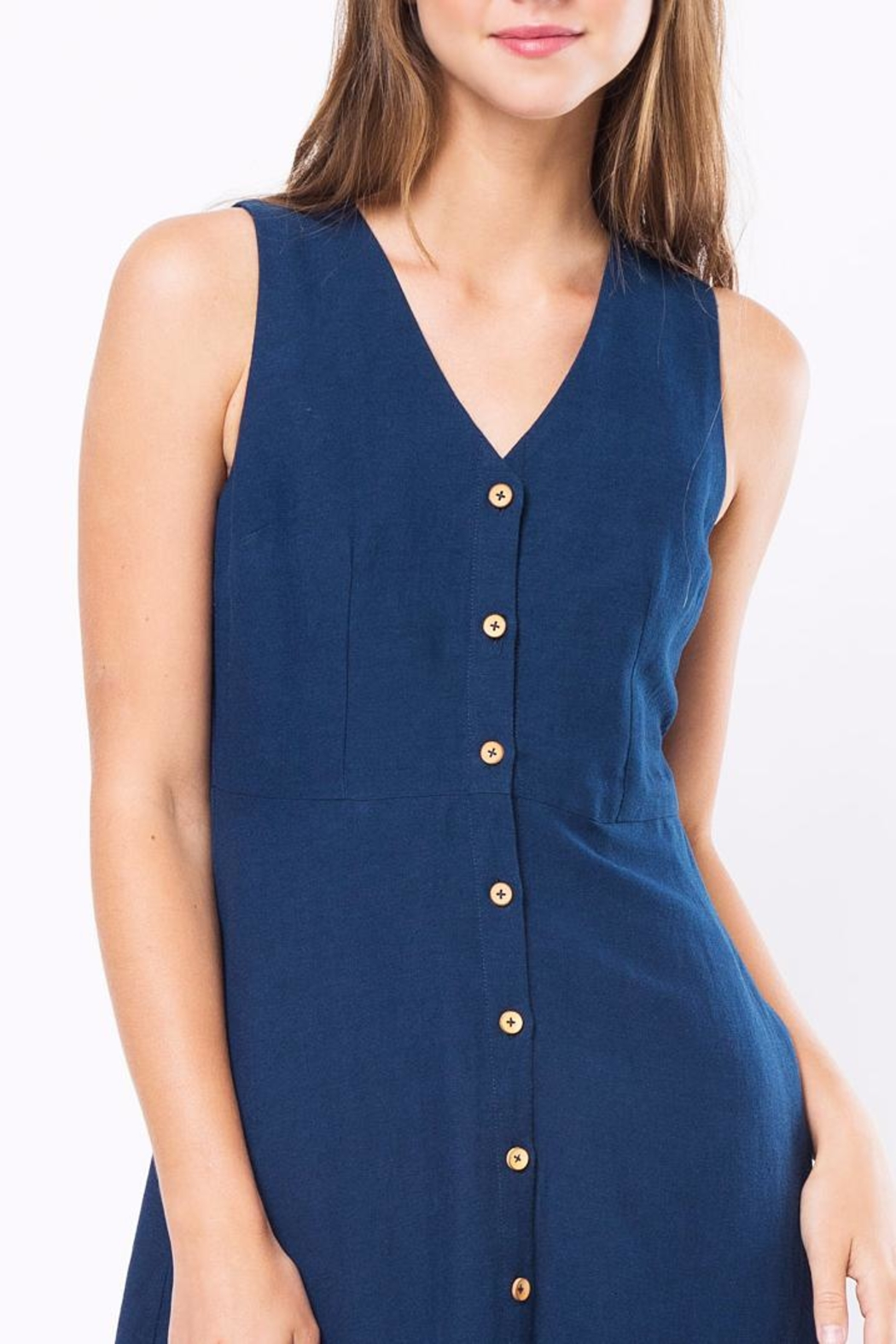 Movint Button Down Sleeveless Dress - Back Cropped Image