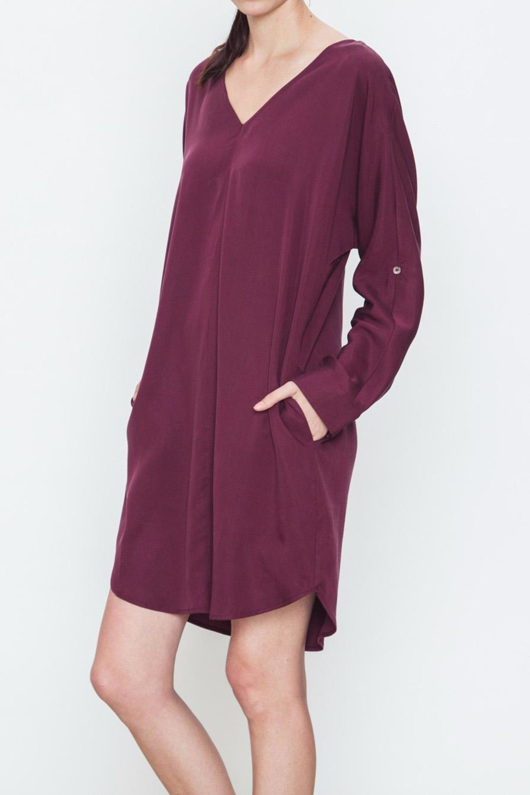 Movint V-Neck Pocket Dress - Front Full Image