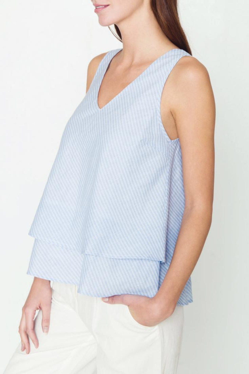 Movint V Neck Tiered Tank - Front Full Image