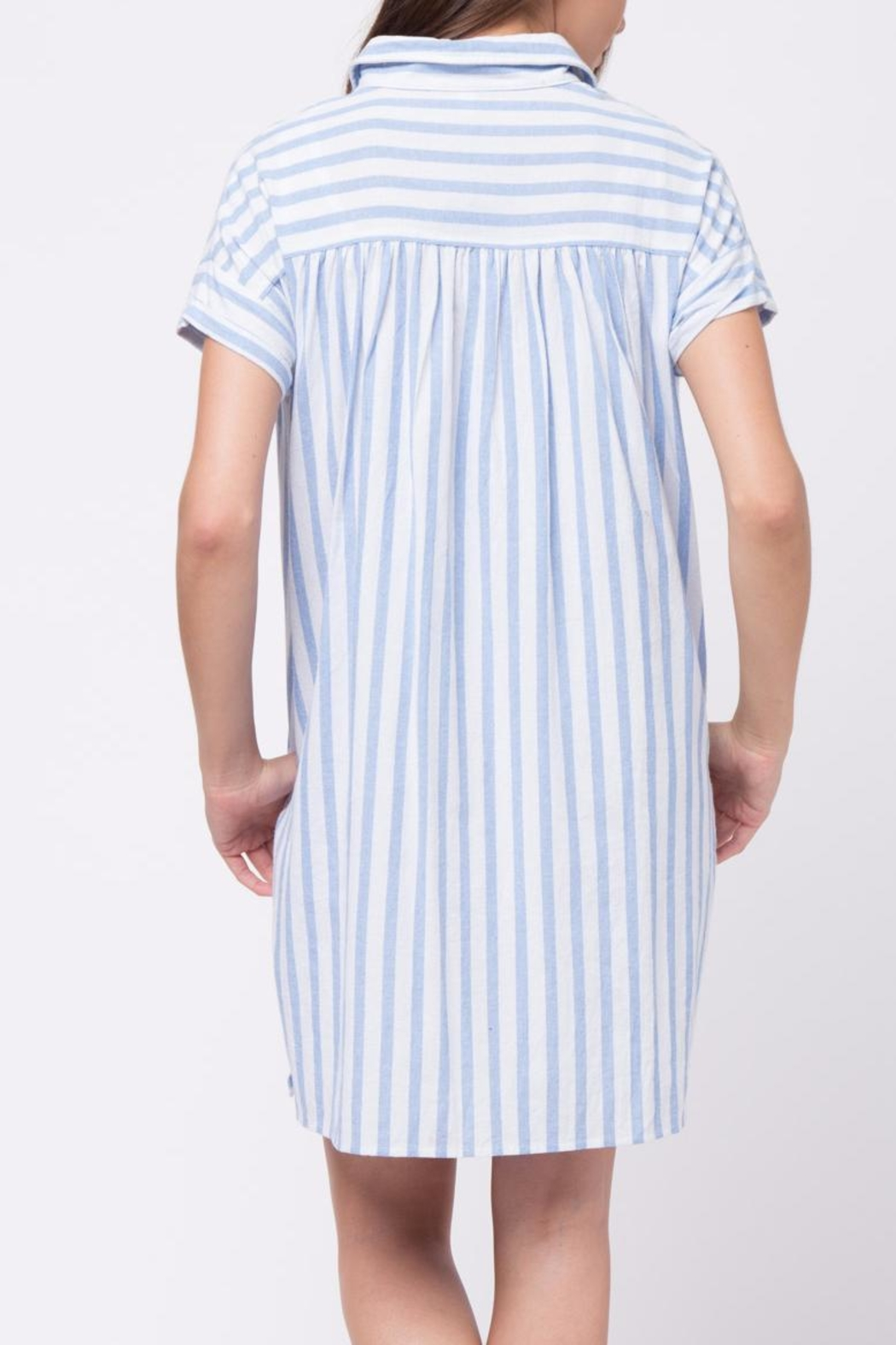 Movint Vertical Striped Shirt Dress - Back Cropped Image