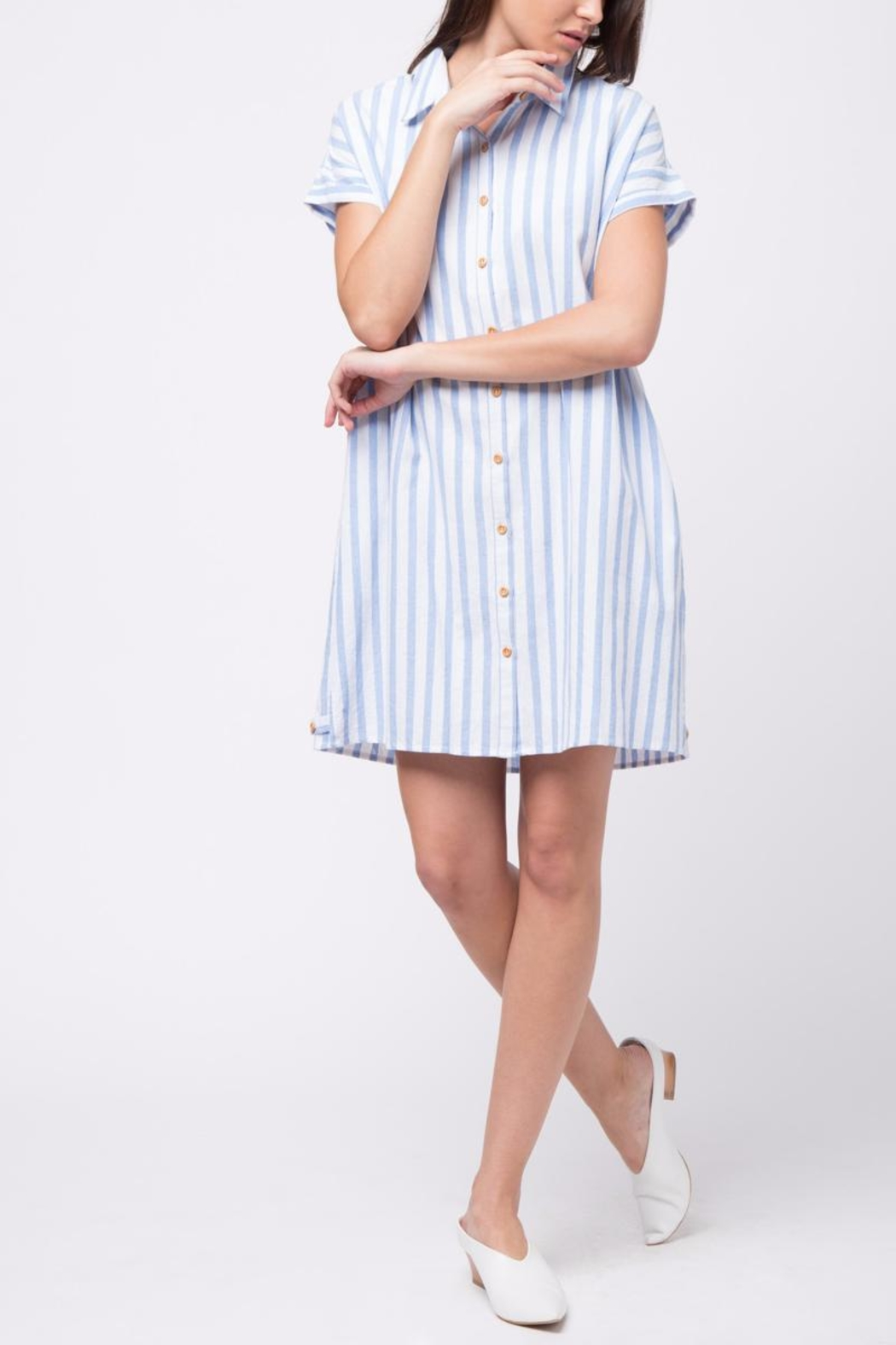 Movint Vertical Striped Shirt Dress - Front Full Image