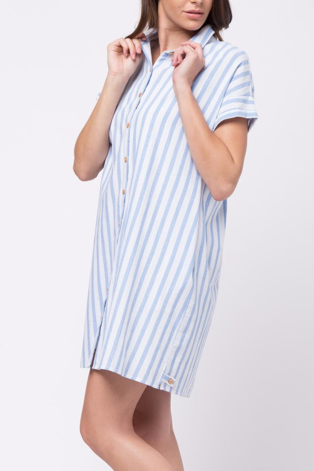 Movint Vertical Striped Shirt Dress - Side Cropped Image