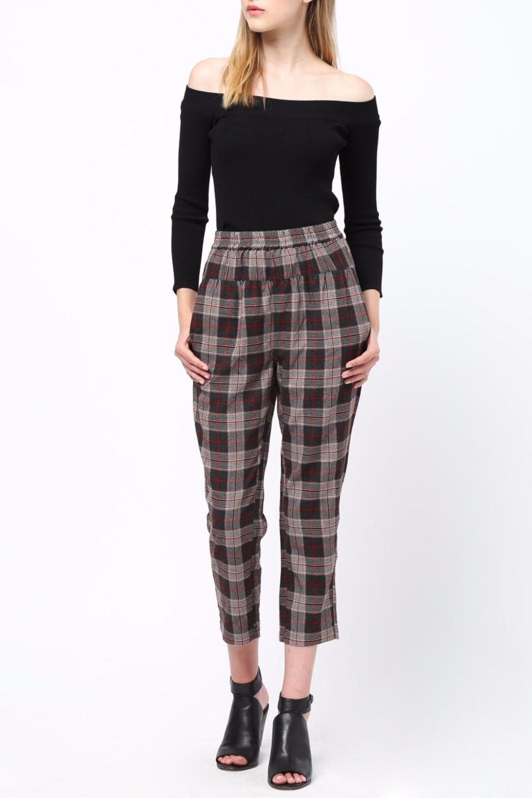 Movint Waist Pintuck Trousers - Back Cropped Image