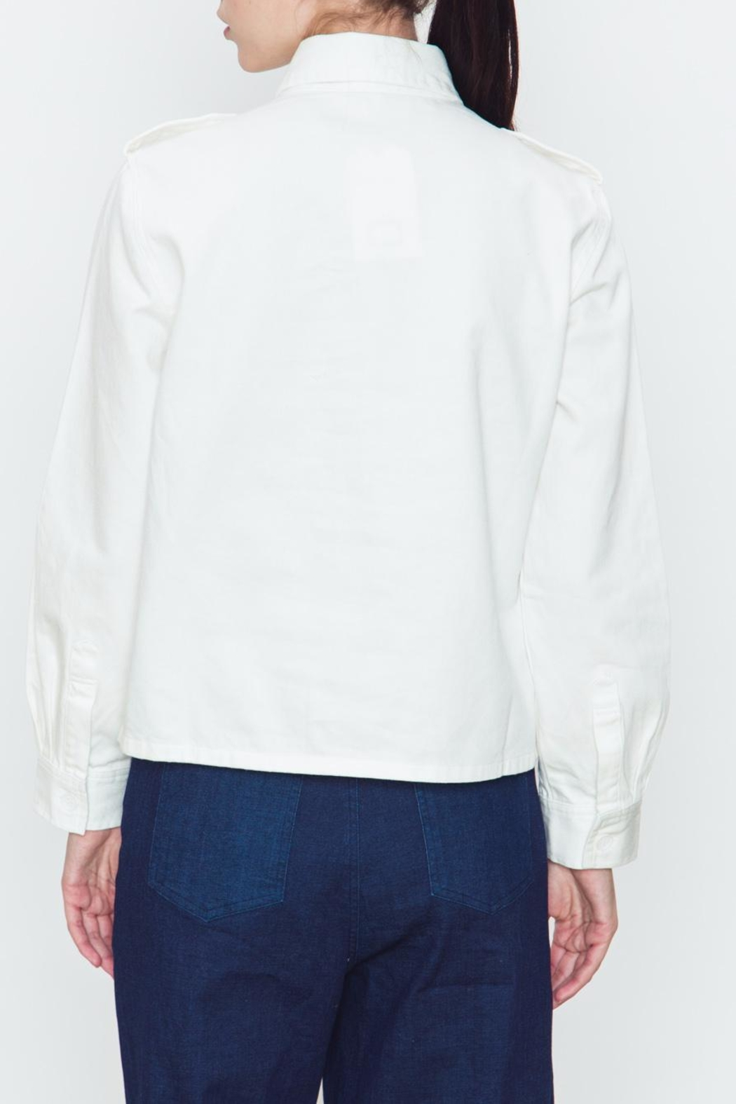 Movint White Denim Top - Side Cropped Image