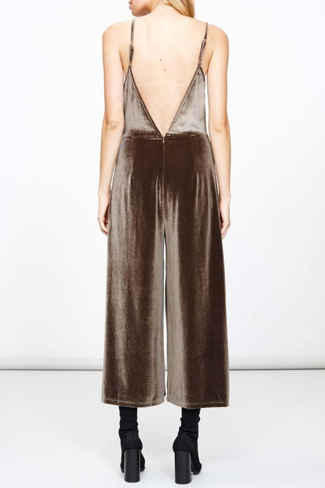MPC Green Velvet Jumpsuit - Front Cropped Image