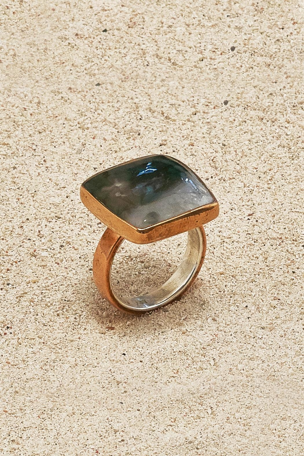 Mr. Blackbird Copper Agate Mug Ring - Front Cropped Image