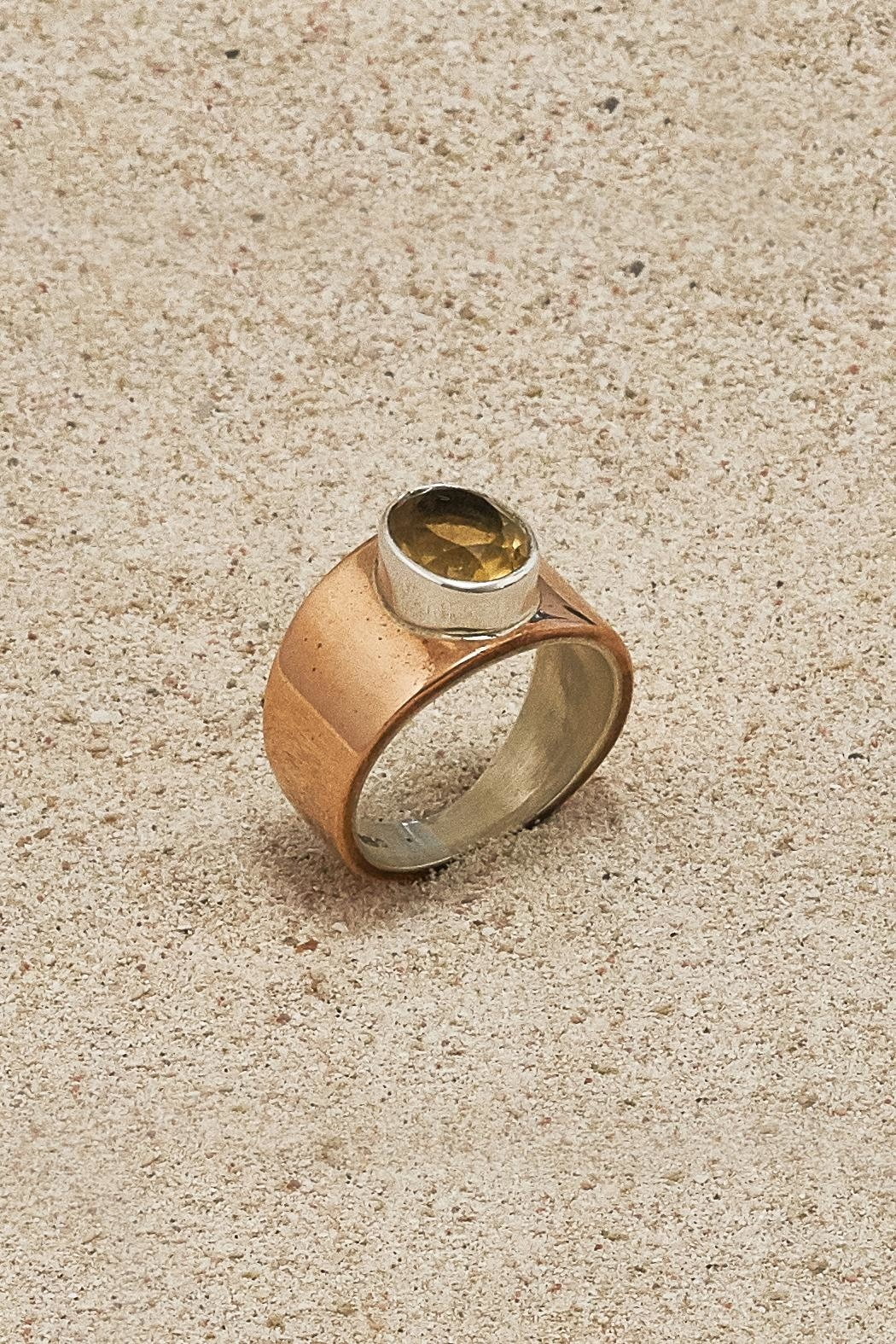 Mr. Blackbird Copper Citrine Ring - Front Full Image