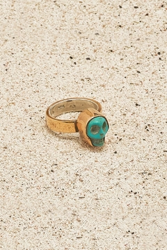 Shoptiques Product: Copper Turquoise-Skull Ring