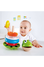 Hape  Mr. Frog Stacking Rings - Front full body