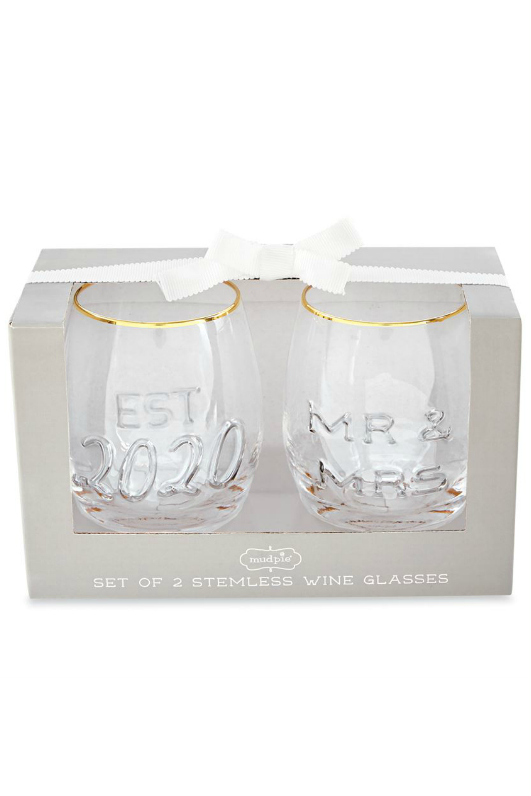 Mud Pie Mr. & Mrs. Embossed Wine Glasses - Front Cropped Image