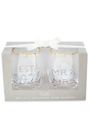 Mud Pie Mr. & Mrs. Embossed Wine Glasses - Product Mini Image