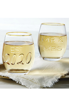 Mud Pie Mr. & Mrs. Embossed Wine Glasses - Alternate List Image