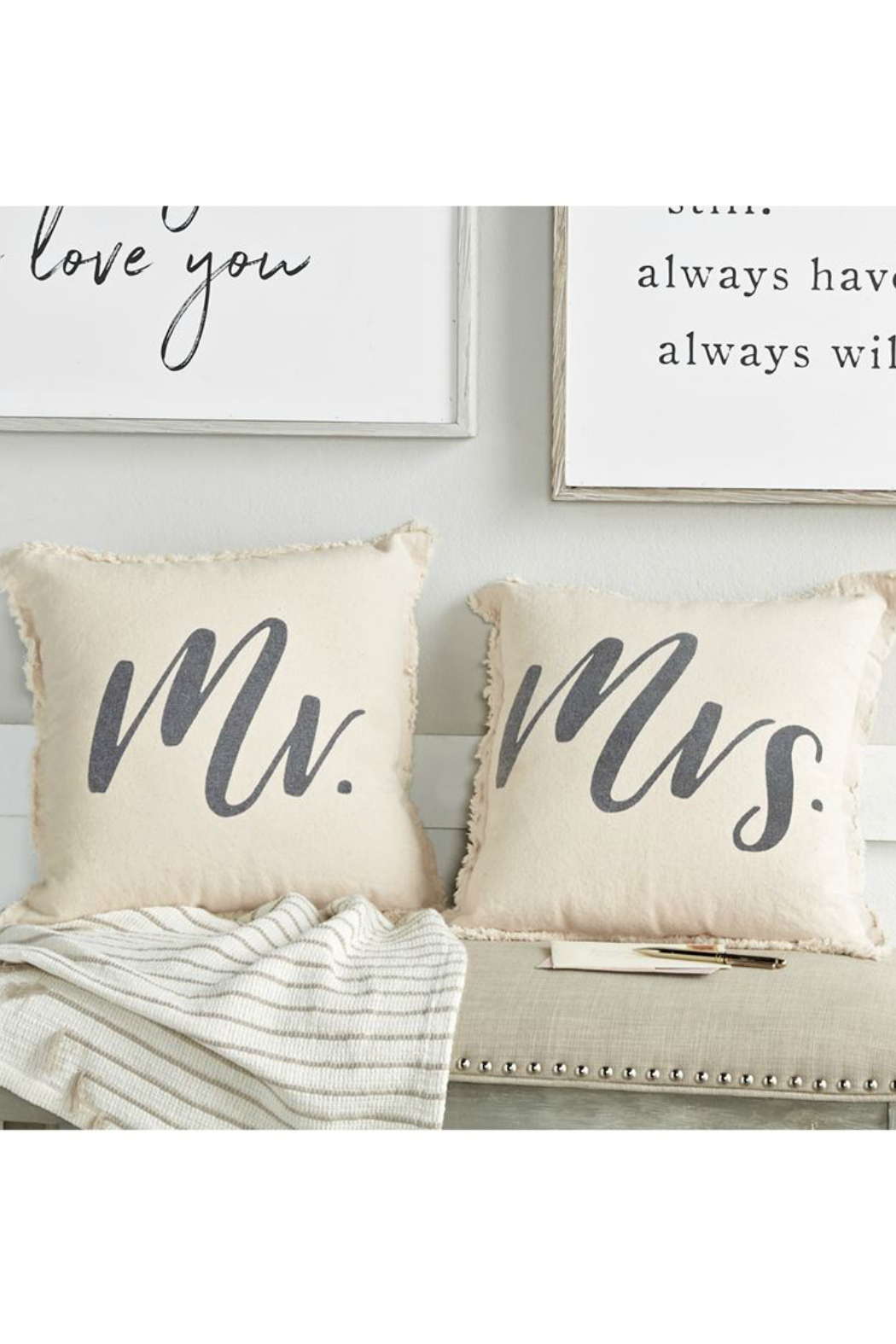 Mud Pie Mr. & Mrs. Frayed Pillow Set - Front Cropped Image