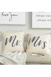 Mud Pie Mr. & Mrs. Frayed Pillow Set - Front cropped