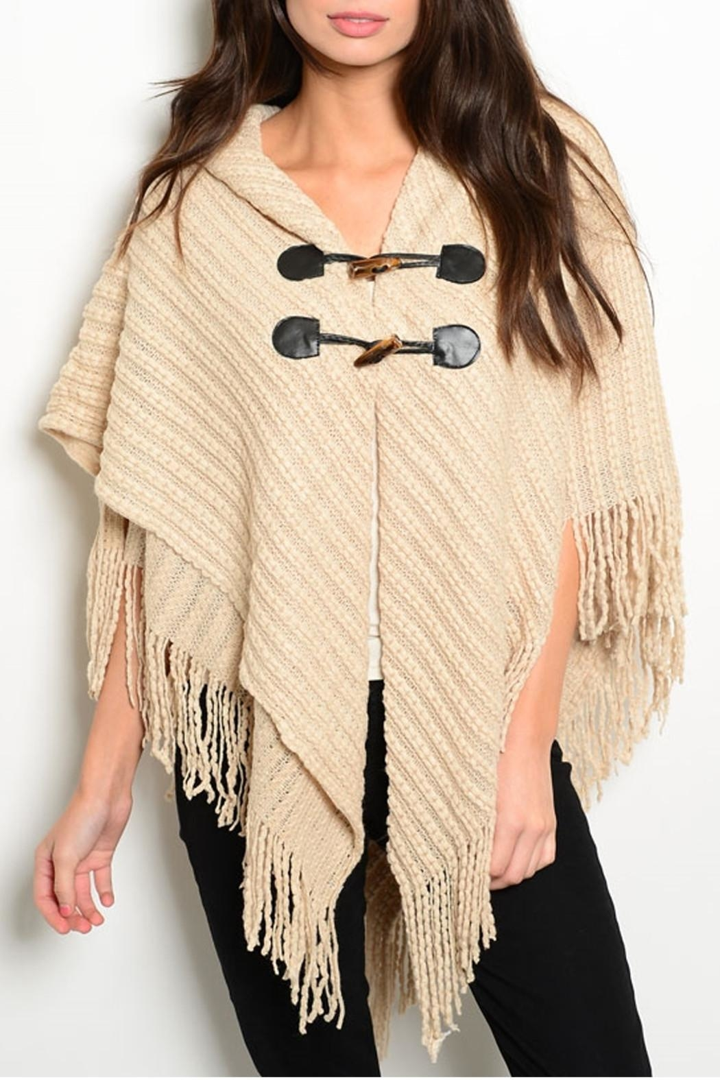 MS Accessories Fringes Beige Poncho - Main Image