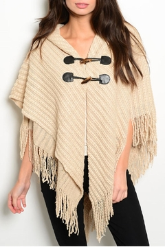 MS Accessories Fringes Beige Poncho - Product List Image
