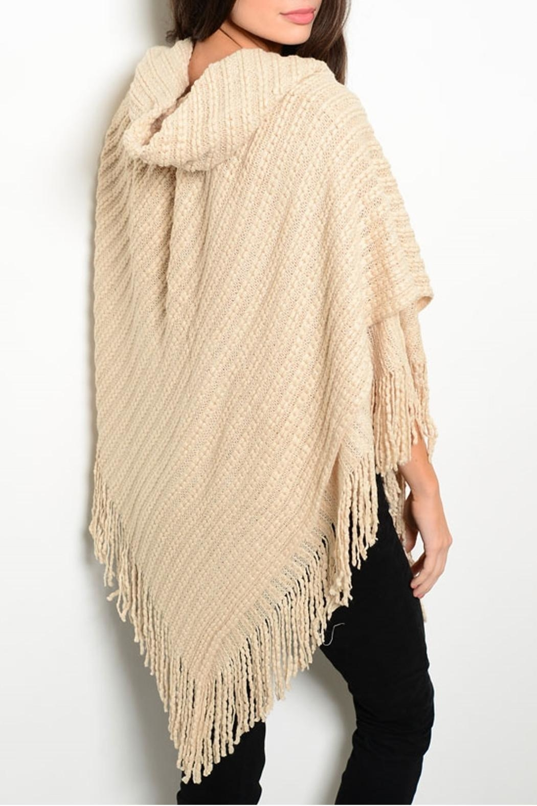 MS Accessories Fringes Beige Poncho - Front Full Image