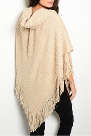 MS Accessories Fringes Beige Poncho - Front full body