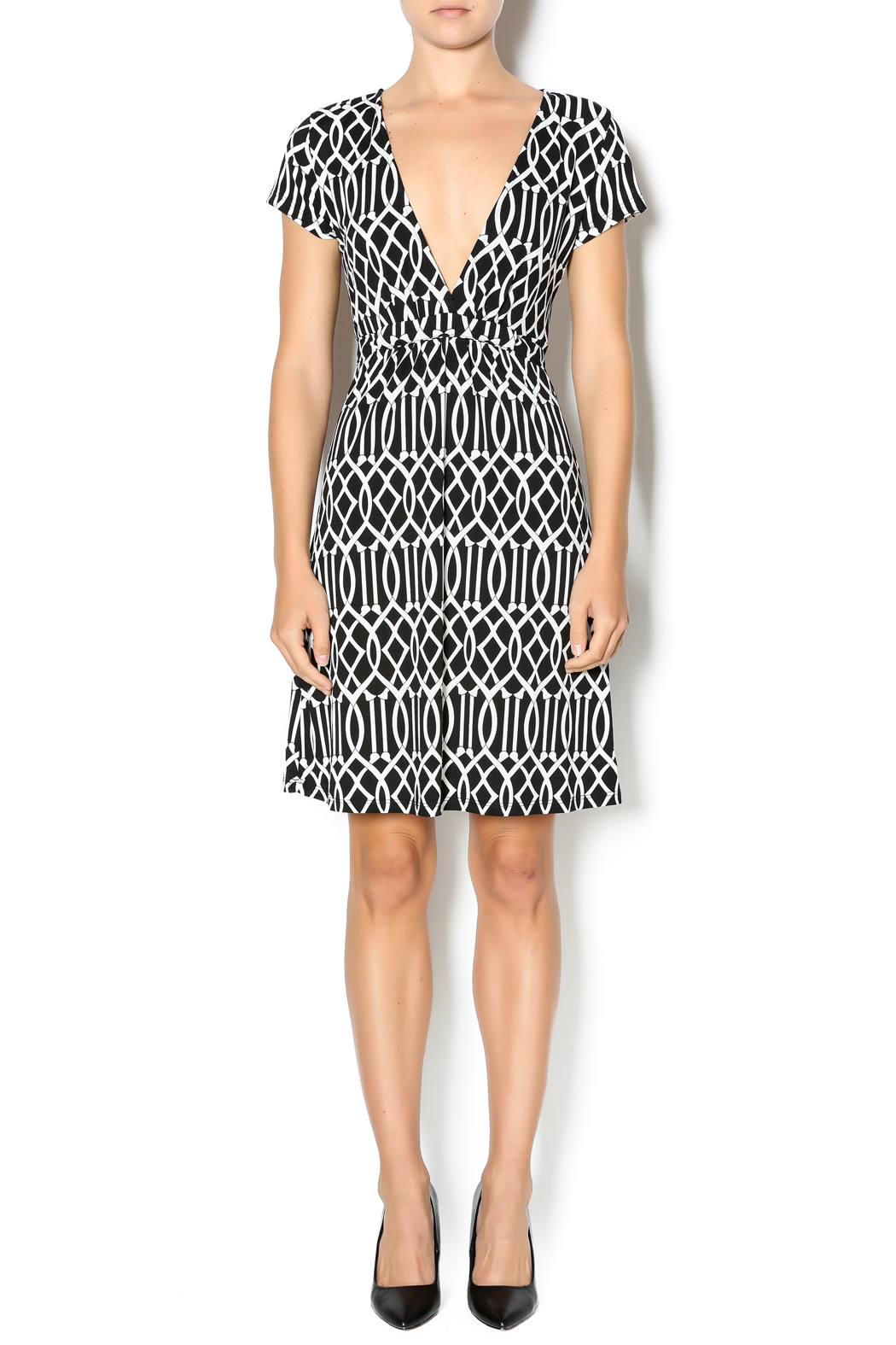 MT Collection Geometric Print Dress - Front Full Image