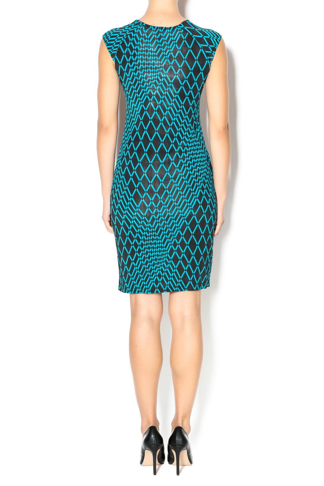 MT Collection Geometric Diamond Print Dress - Side Cropped Image