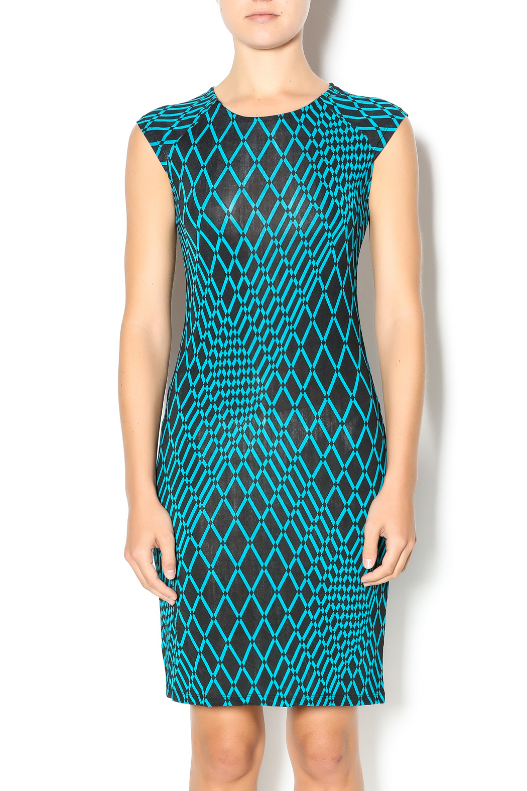 MT Collection Geometric Diamond Print Dress - Front Cropped Image