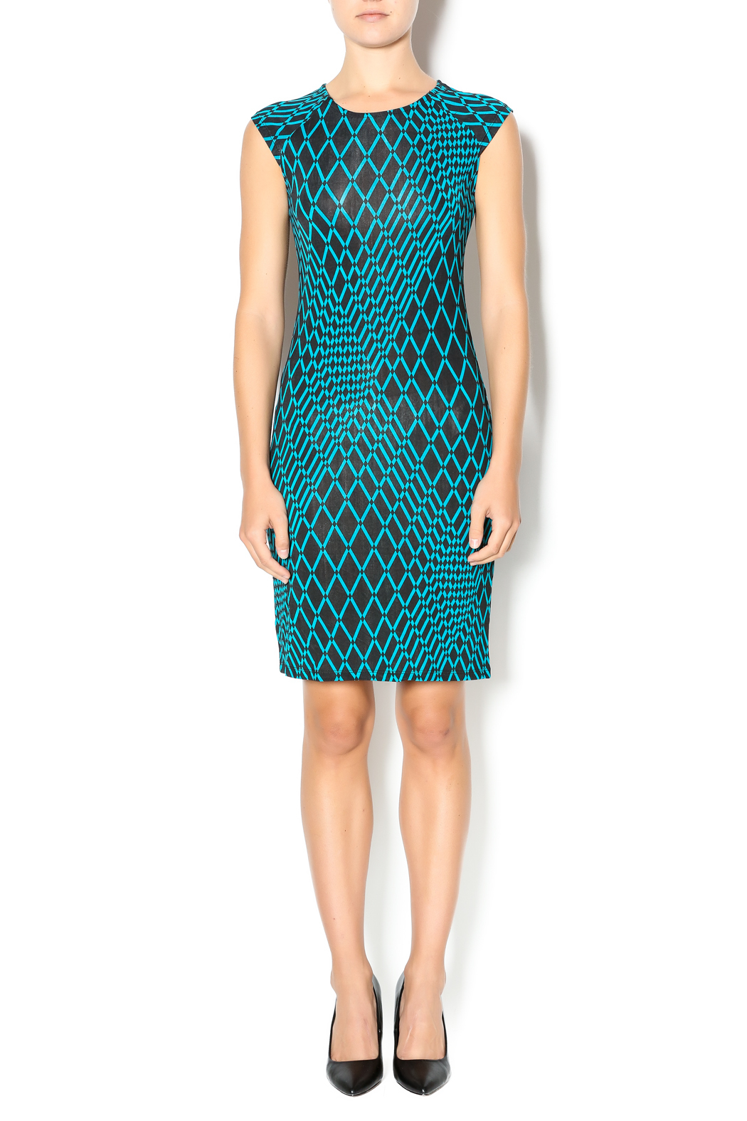 MT Collection Geometric Diamond Print Dress - Front Full Image