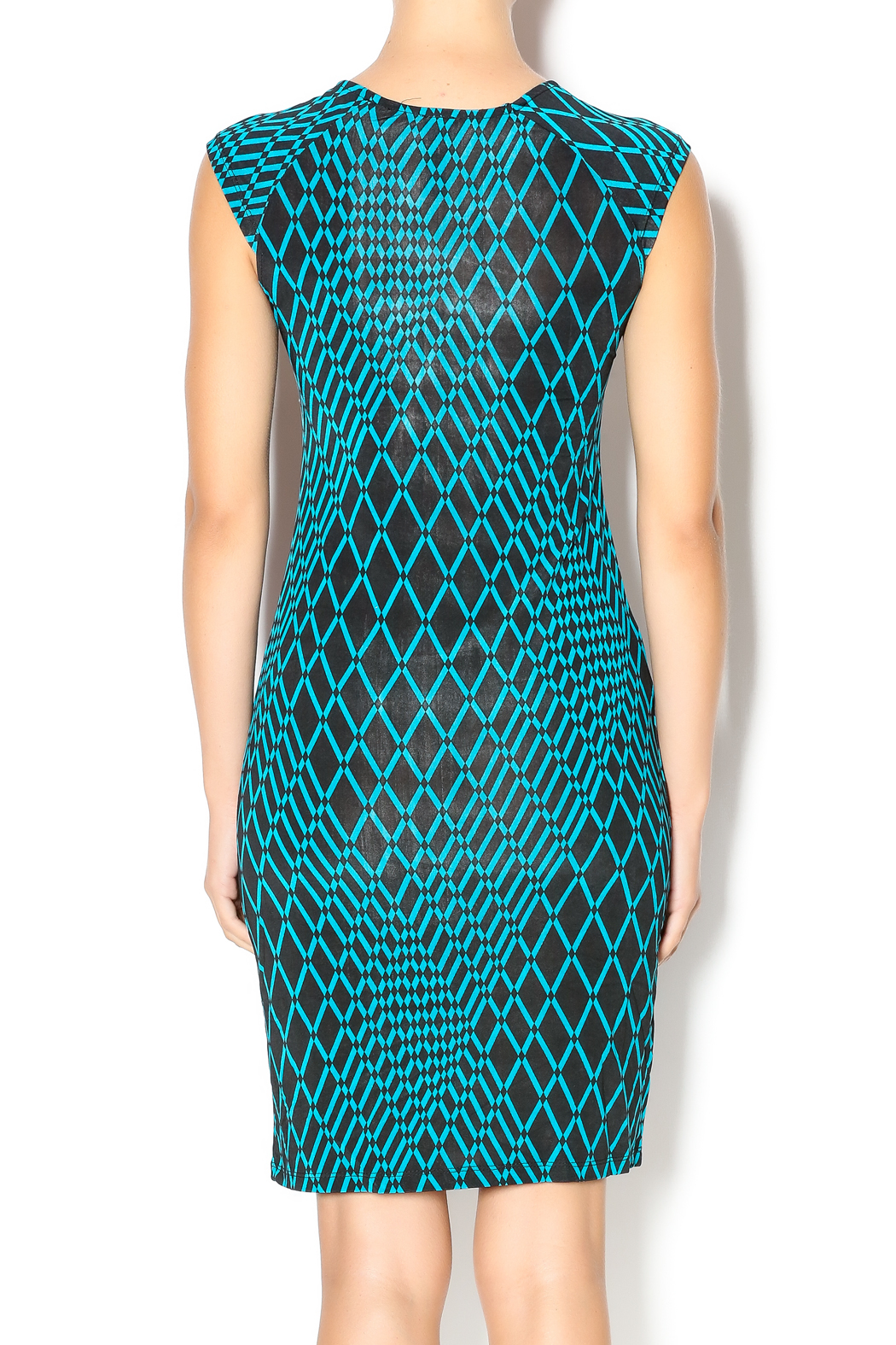 MT Collection Geometric Diamond Print Dress - Back Cropped Image