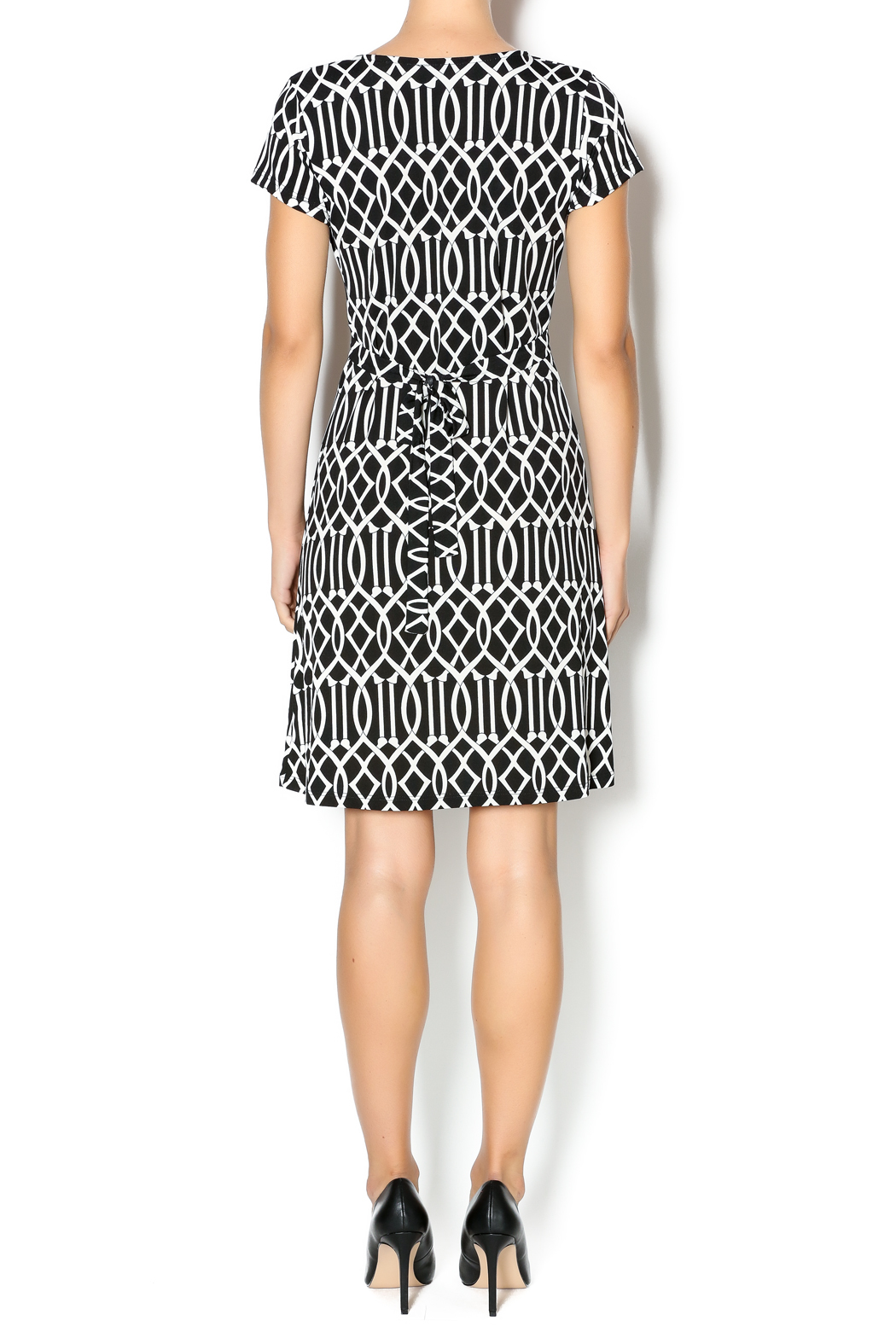 MT Collection Geometric Print Dress - Side Cropped Image