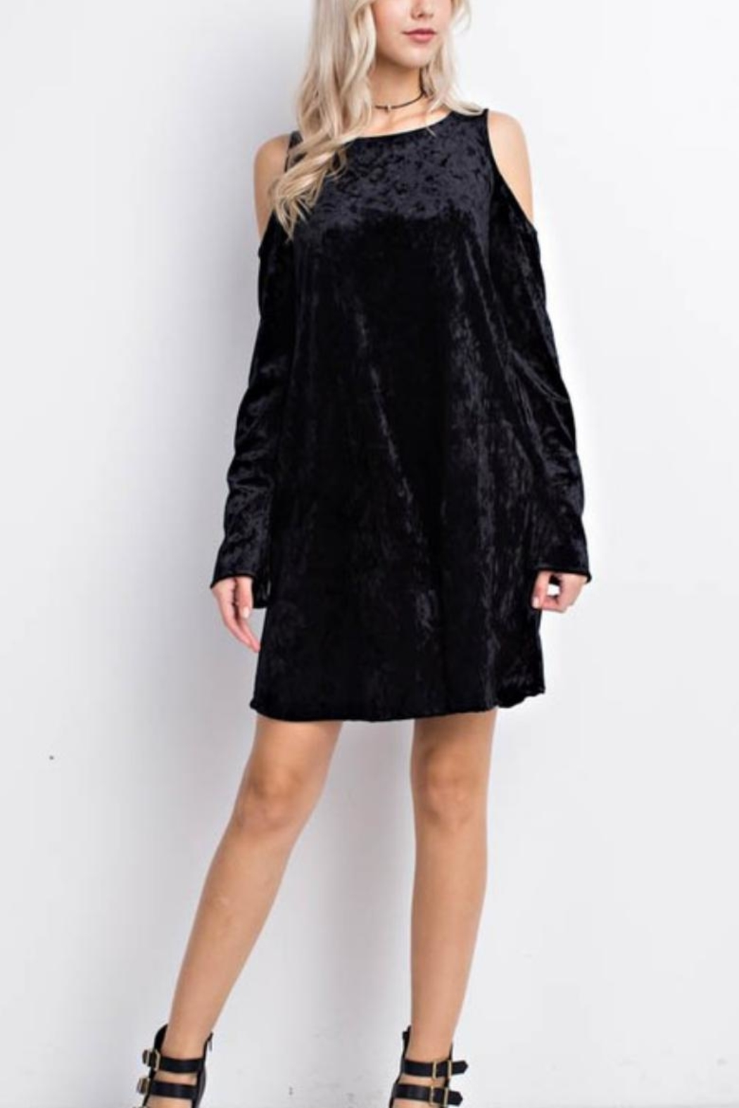 MTS Crushed Velvet Cold Shoulder Dress - Front Full Image