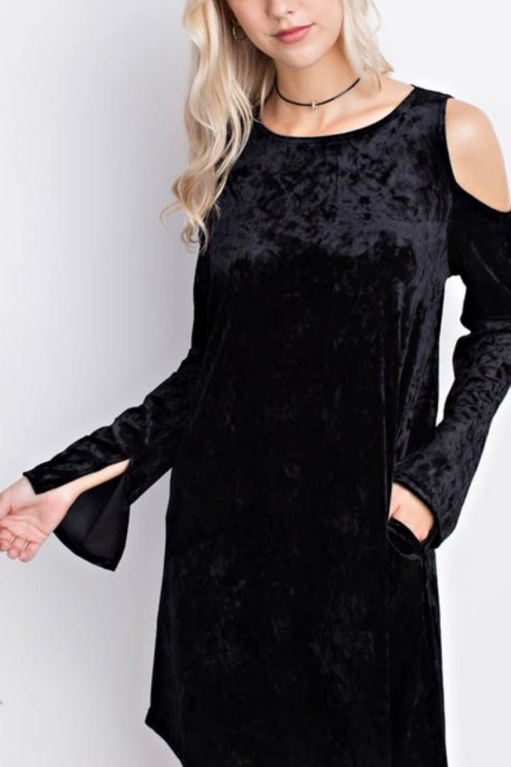 MTS Crushed Velvet Cold Shoulder Dress - Main Image