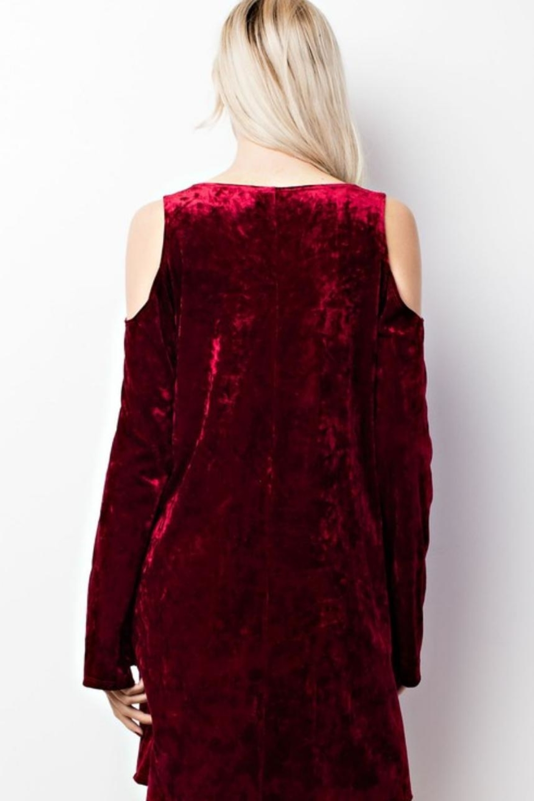 MTS Crushed Velvet Cold Shoulder Dress - Side Cropped Image