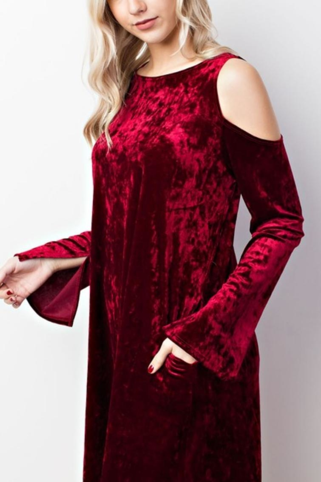 MTS Crushed Velvet Cold Shoulder Dress - Front Cropped Image
