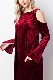 MTS Crushed Velvet Cold Shoulder Dress - Front cropped