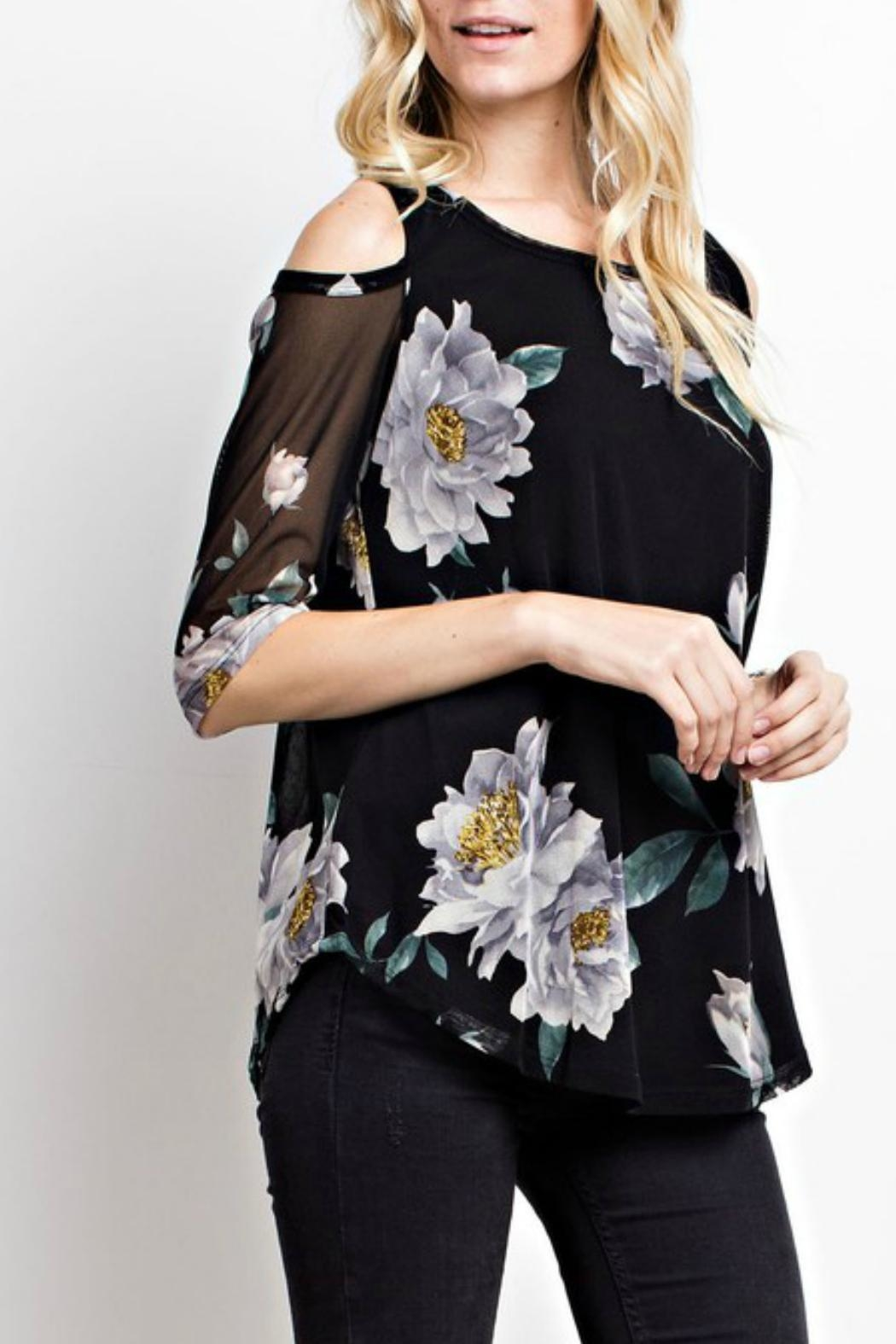 MTS Floral Mesh Top - Side Cropped Image