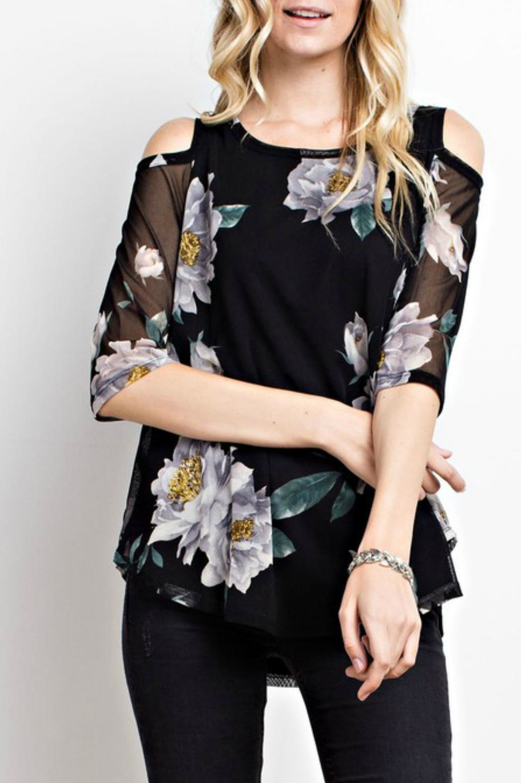 MTS Floral Mesh Top - Back Cropped Image