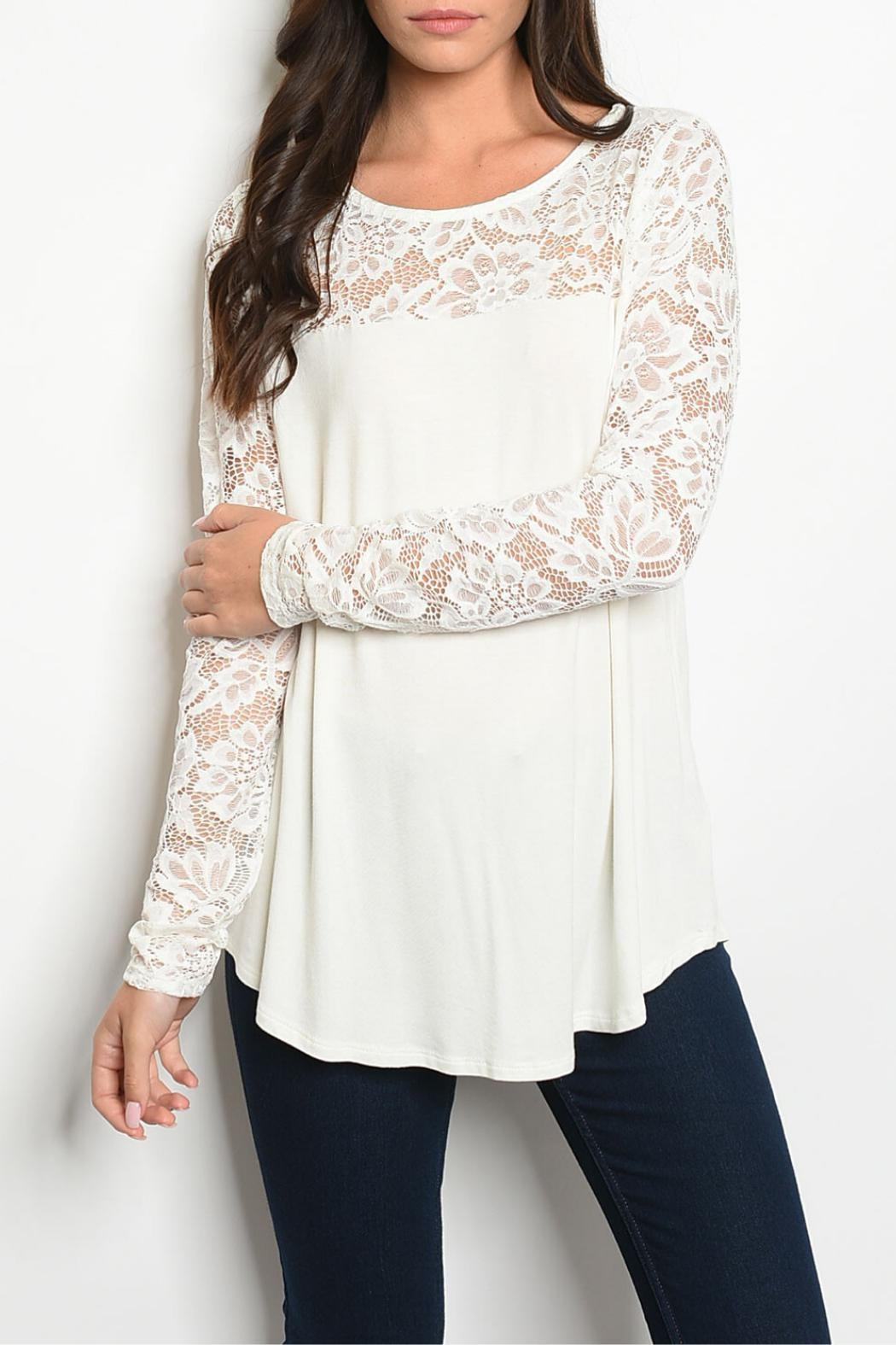 MTS Ivory Lace Tunic - Front Cropped Image
