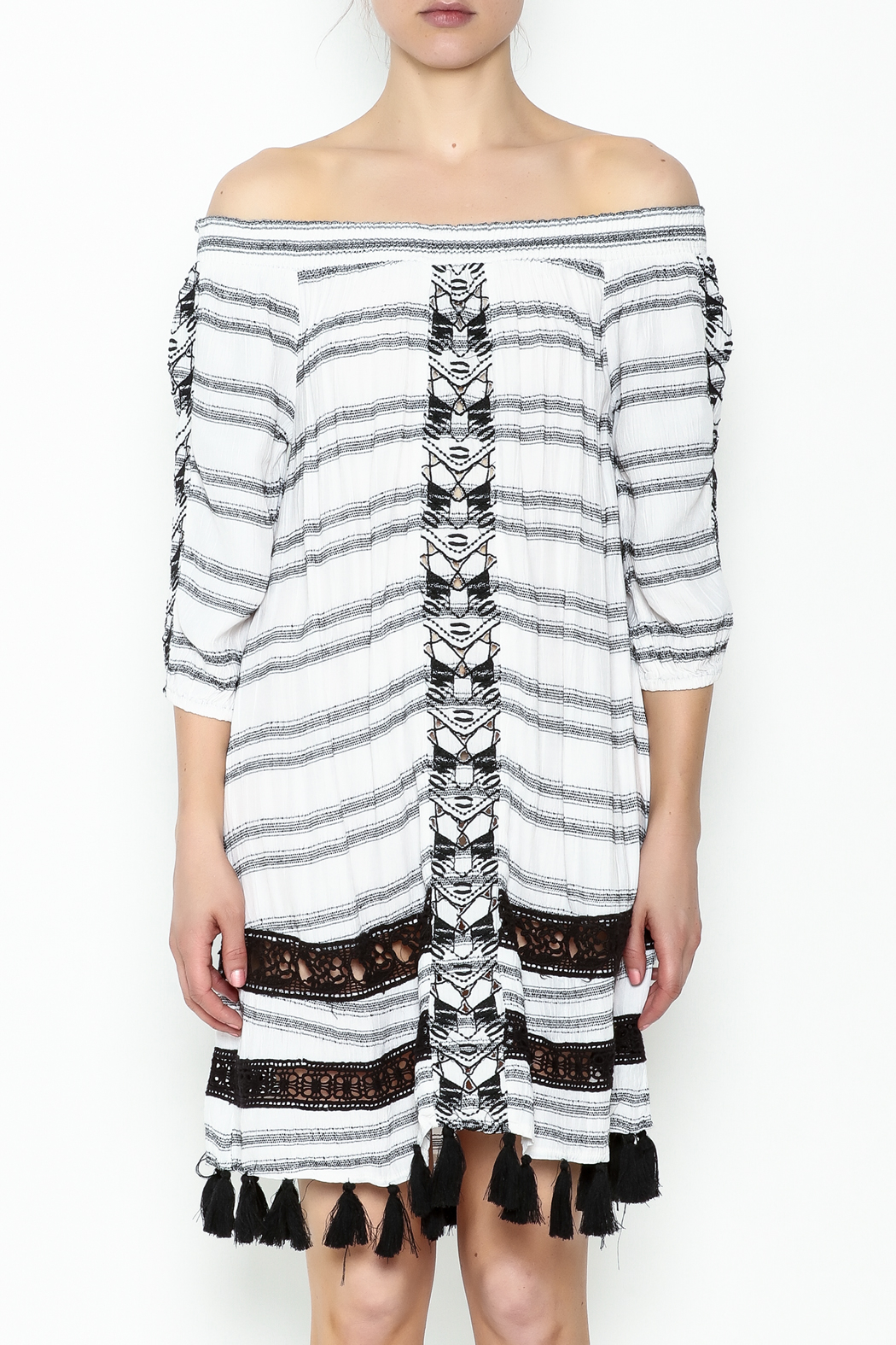 Muche et Muchette Striped Embroidered Dress - Front Full Image