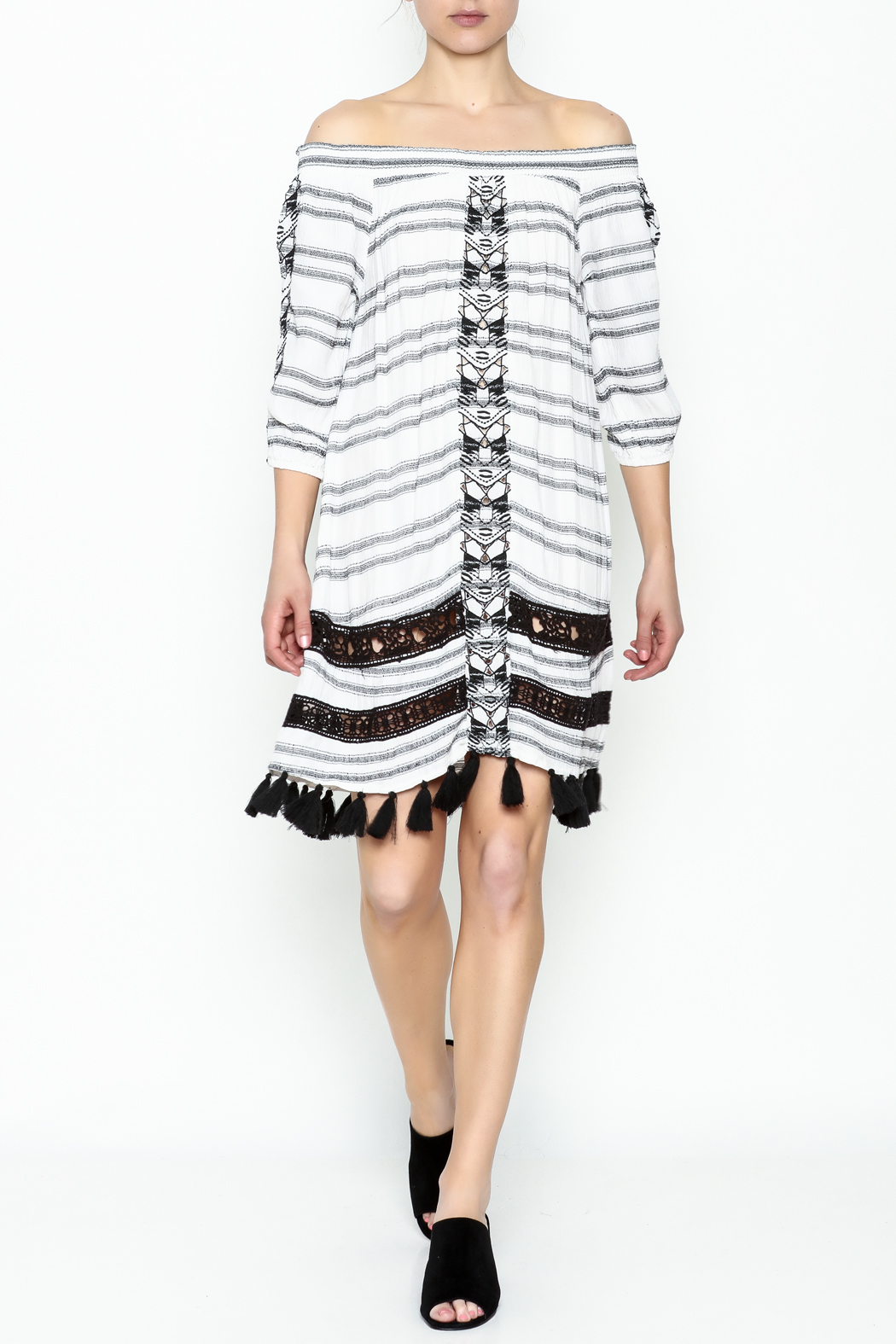 Muche et Muchette Striped Embroidered Dress - Side Cropped Image