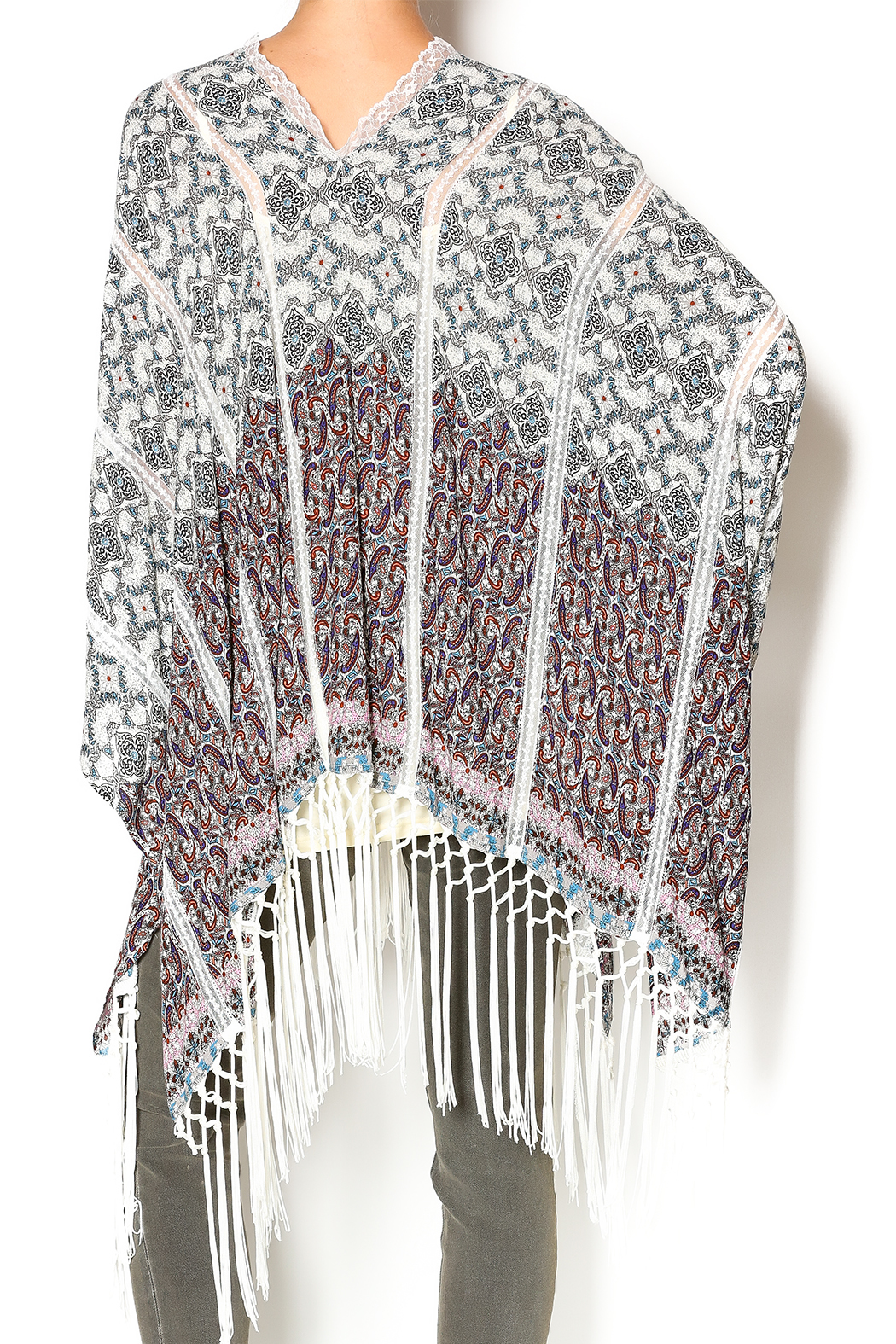 Muche et Muchette Button Shawl With Fringe - Back Cropped Image