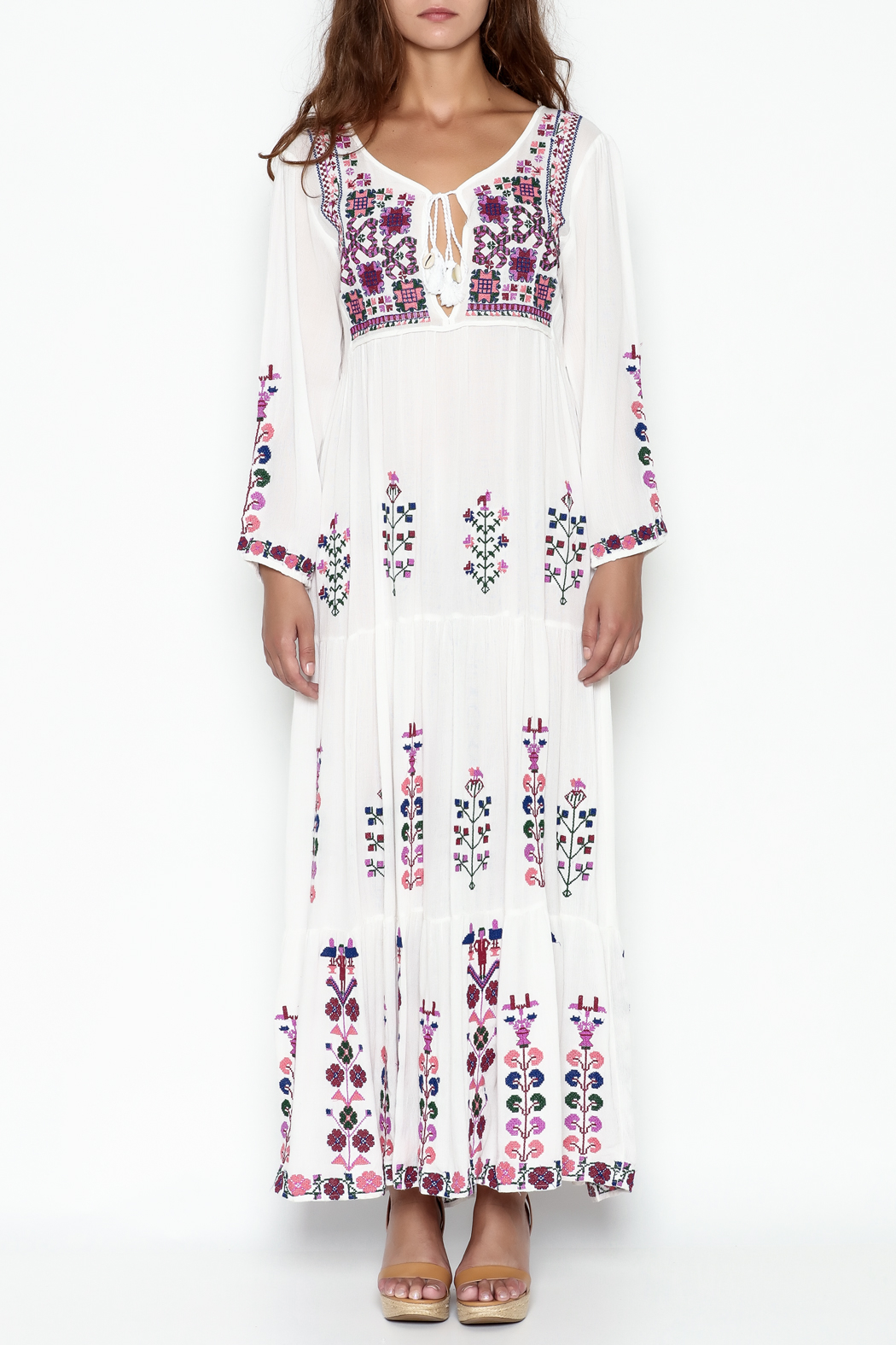 Muche et Muchette Embroidered Long Dress - Front Full Image