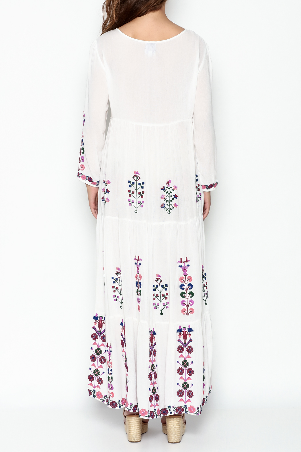 Muche et Muchette Embroidered Long Dress - Back Cropped Image