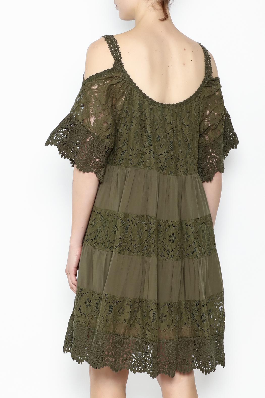 Muche et Muchette Lace Dress Army Green - Back Cropped Image