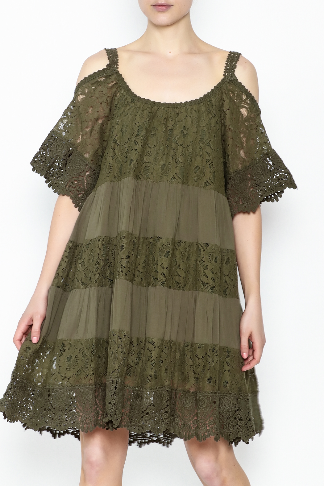 Muche et Muchette Lace Dress Army Green - Front Cropped Image